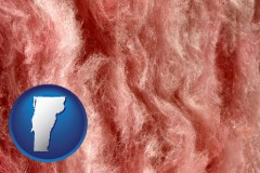 vermont map icon and a fiberglass insulation macro photo